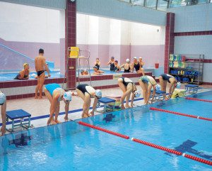 swimmers at pool