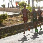 Matthew Sharpe on the run at the Santo Domingo ITU Triathlon World Cup. Photo: Tommy Zaferes.